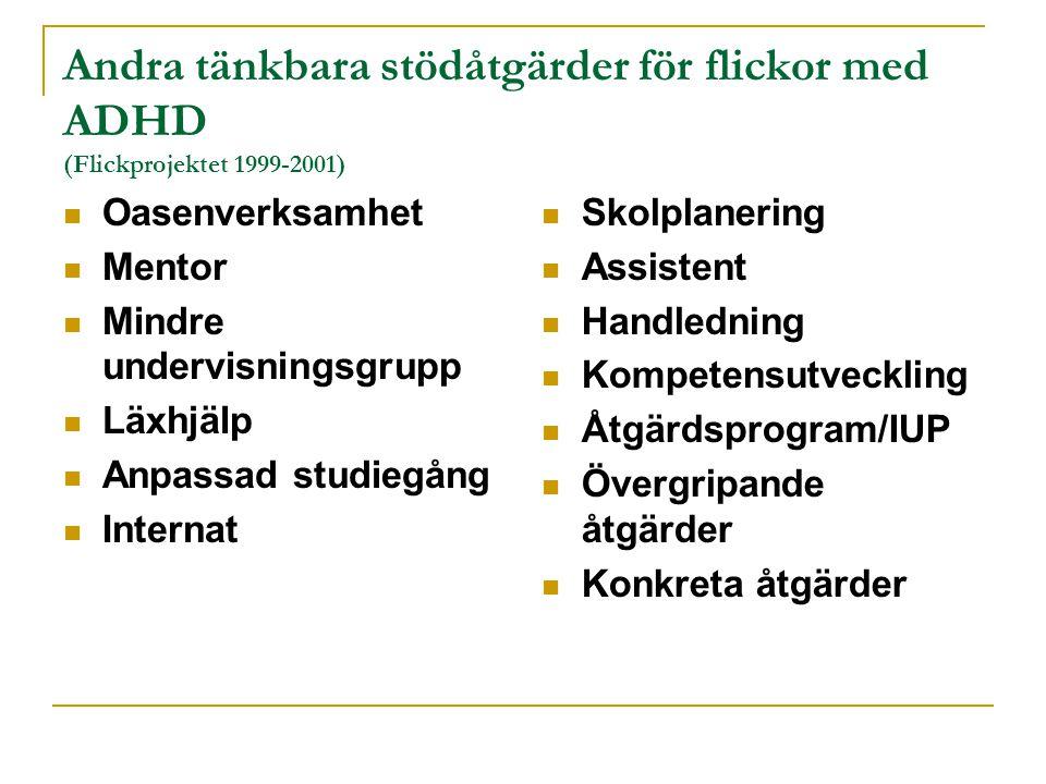 Andra tänkbara stödåtgärder för flickor med ADHD (Flickprojektet 1999-2001)