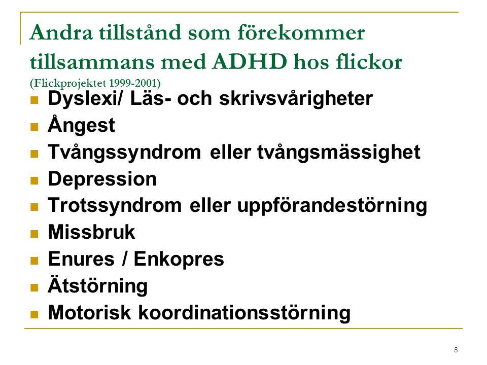 Andra tillstånd som förekommer tillsammans med ADHD hos flickor (Flickprojektet 1999-2001)