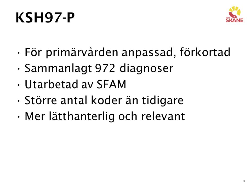 KSH97-P För primärvården anpassad, förkortad Sammanlagt 972 diagnoser