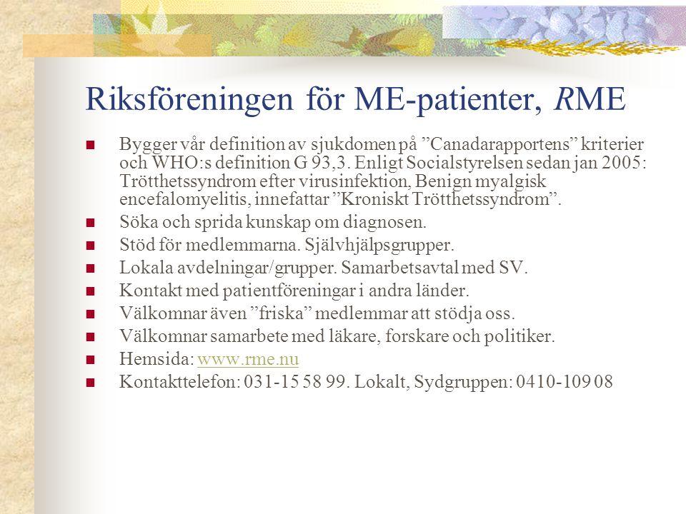 Riksföreningen för ME-patienter, RME