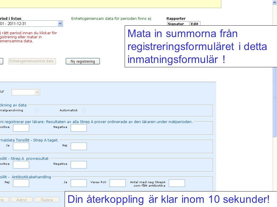 Mata in summorna från registreringsformuläret i detta inmatningsformulär !