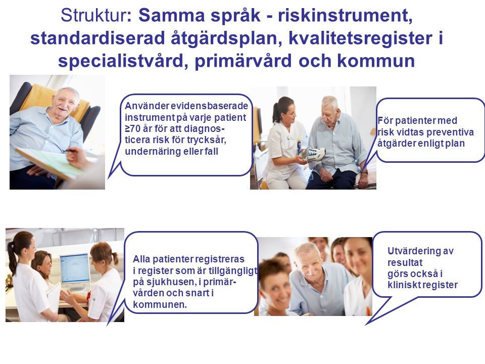 Struktur: Samma språk - riskinstrument, standardiserad åtgärdsplan, kvalitetsregister i specialistvård, primärvård och kommun