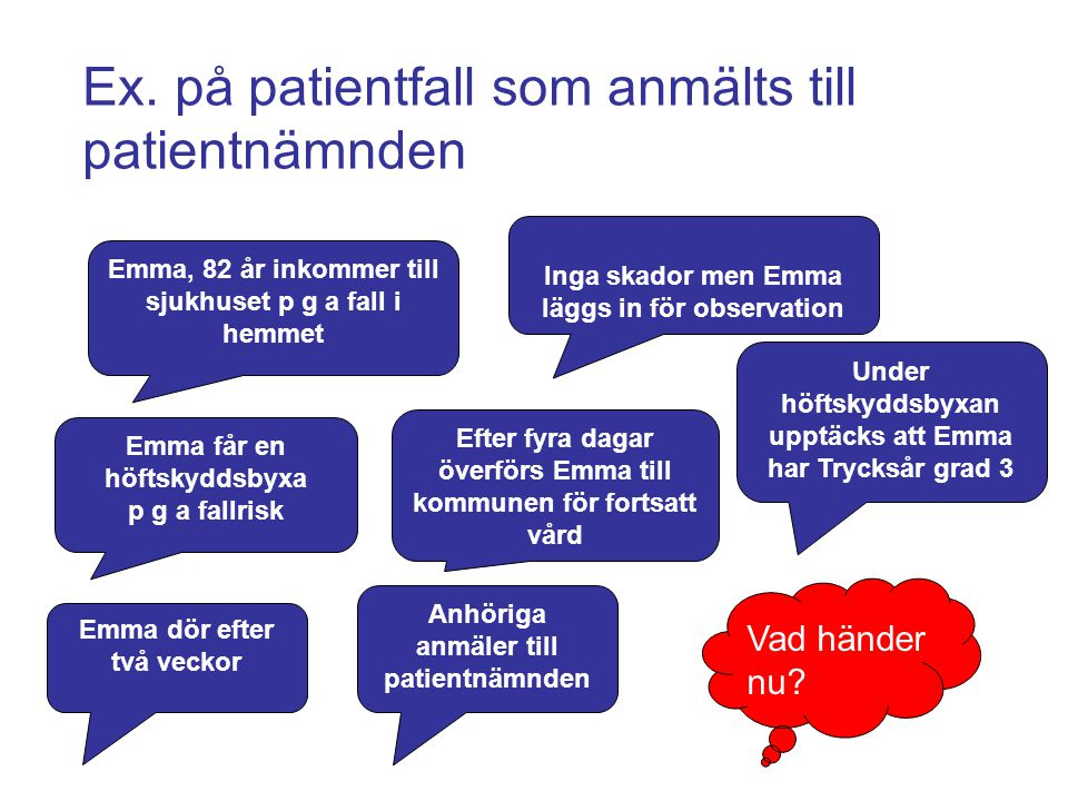 Ex. på patientfall som anmälts till patientnämnden