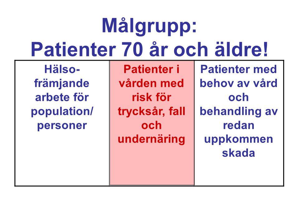 Målgrupp: Patienter 70 år och äldre!