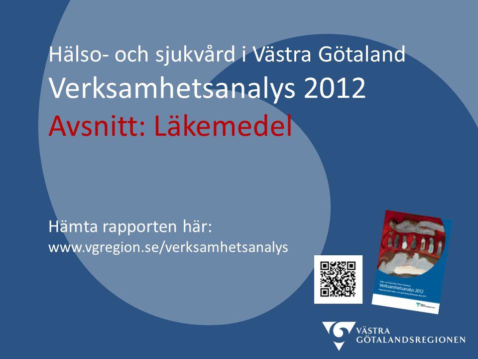 Hälso- och sjukvård i Västra Götaland Verksamhetsanalys 2012 Avsnitt: Läkemedel