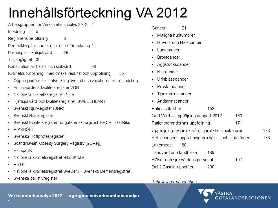 Innehållsförteckning VA 2012