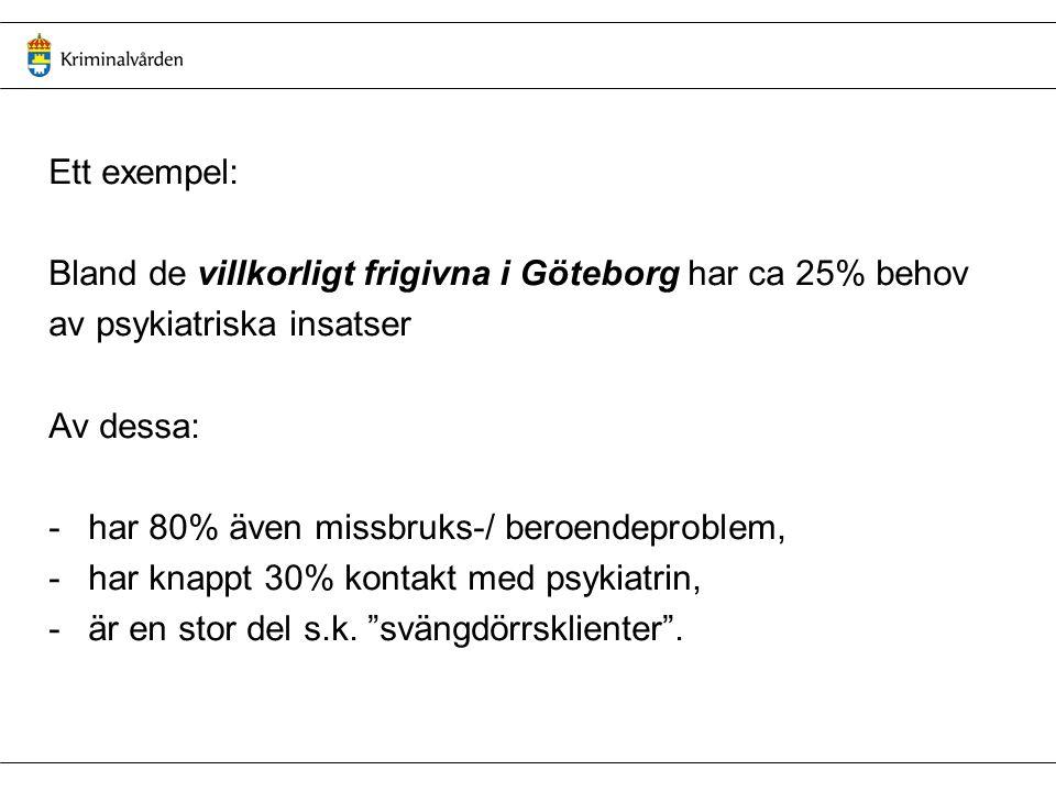 Ett exempel: Bland de villkorligt frigivna i Göteborg har ca 25% behov. av psykiatriska insatser. Av dessa:
