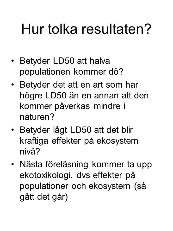Hur tolka resultaten Betyder LD50 att halva populationen kommer dö