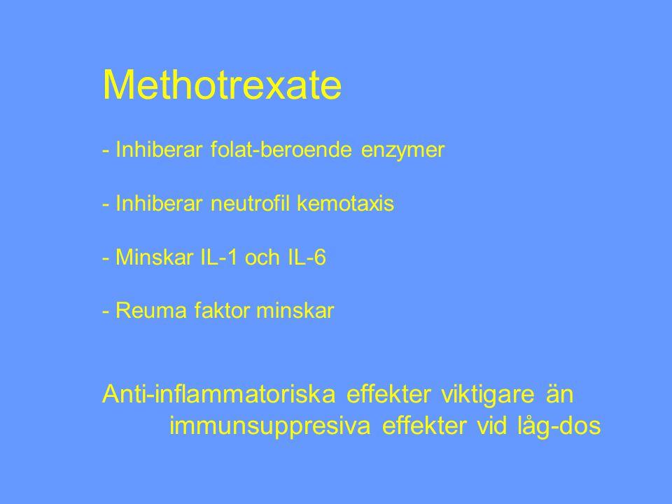 Methotrexate - Inhiberar folat-beroende enzymer - Inhiberar neutrofil kemotaxis - Minskar IL-1 och IL-6 - Reuma faktor minskar Anti-inflammatoriska effekter viktigare än immunsuppresiva effekter vid låg-dos