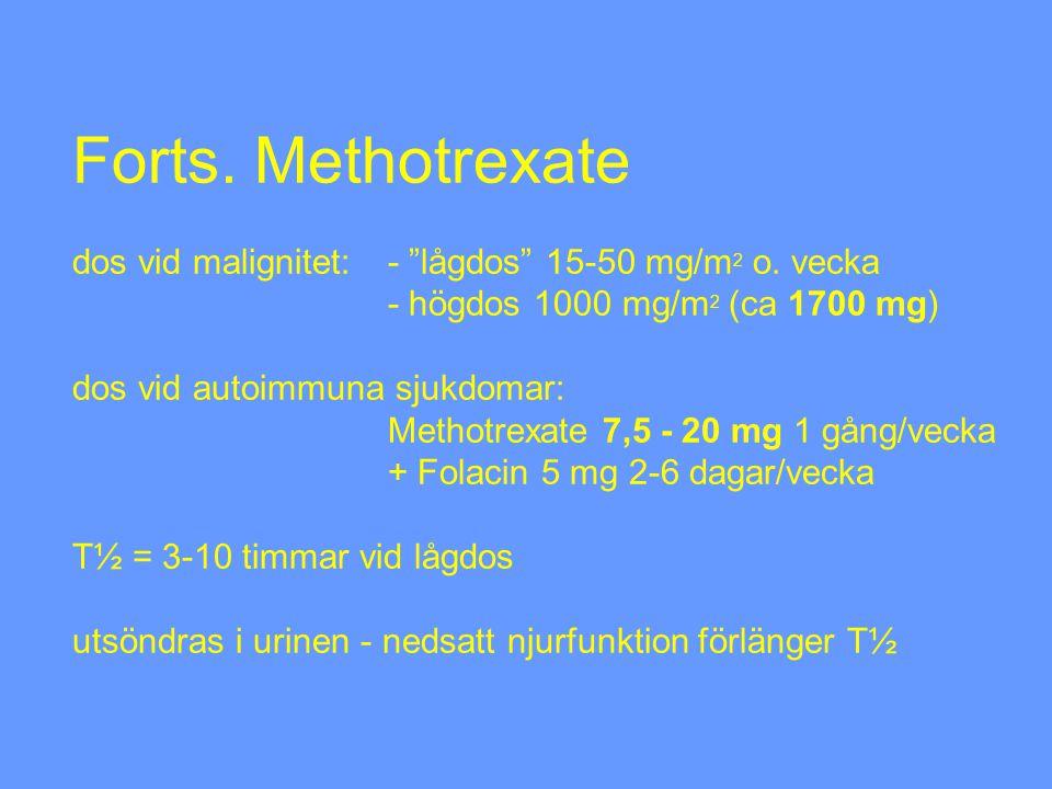 Forts. Methotrexate dos vid malignitet:. - lågdos 15-50 mg/m2 o