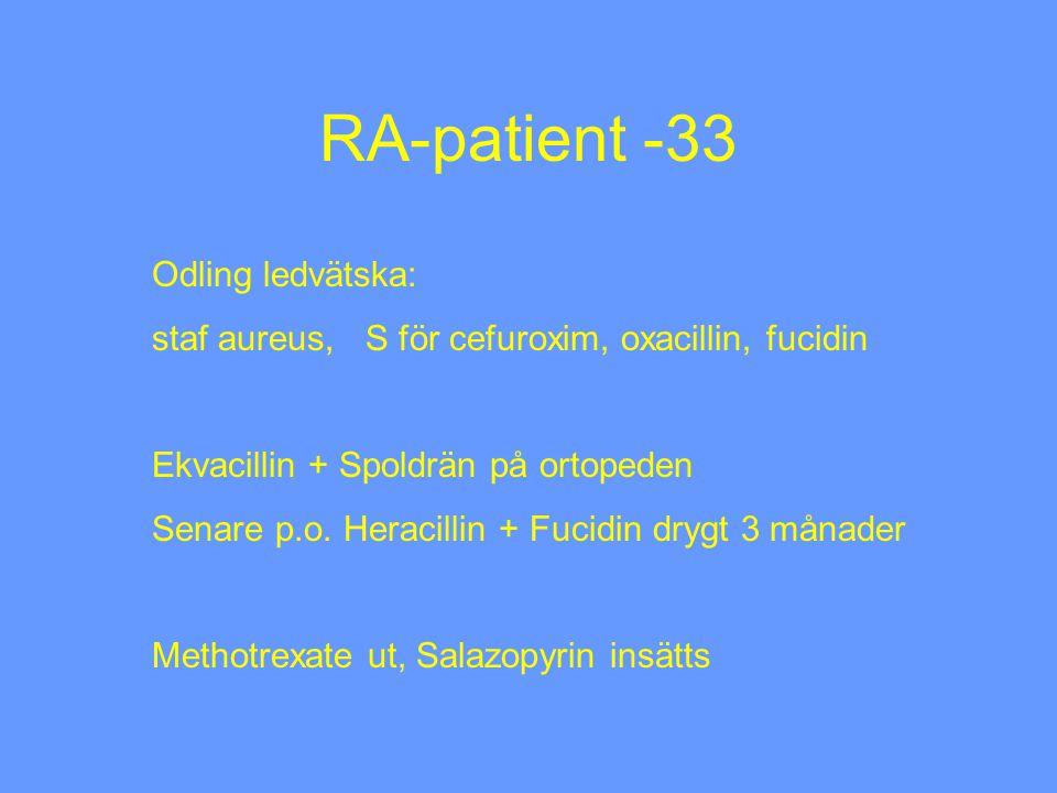 RA-patient -33 Odling ledvätska: