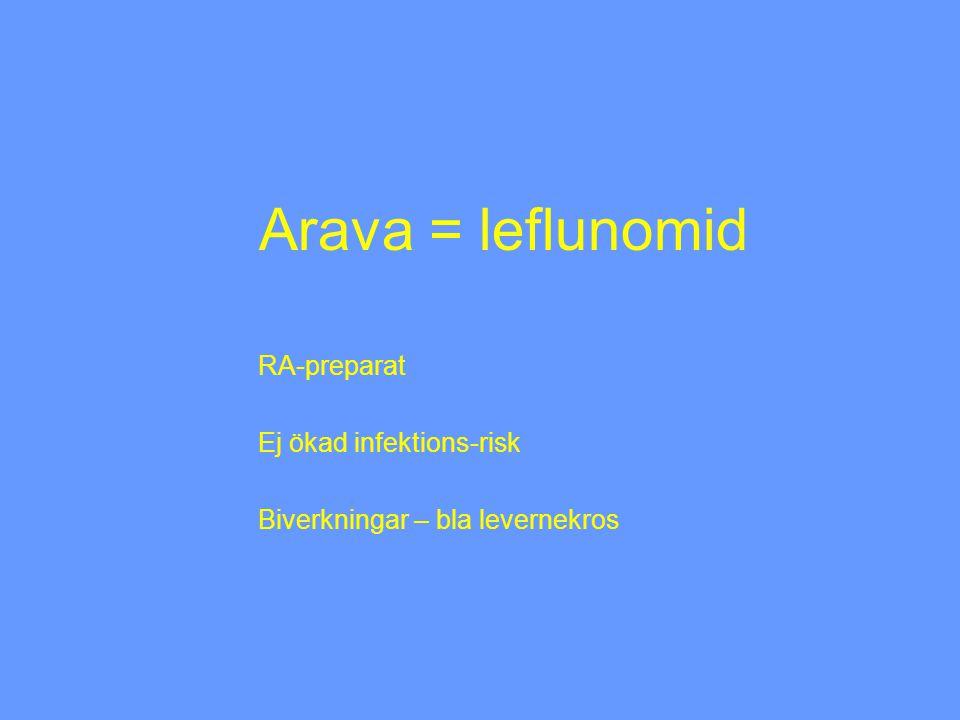RA-preparat Ej ökad infektions-risk Biverkningar – bla levernekros