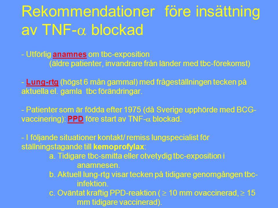 Rekommendationer före insättning av TNF- blockad - Utförlig anamnes om tbc-exposition (äldre patienter, invandrare från länder med tbc-förekomst) - Lung-rtg (högst 6 mån gammal) med frågeställningen tecken på aktuella el.