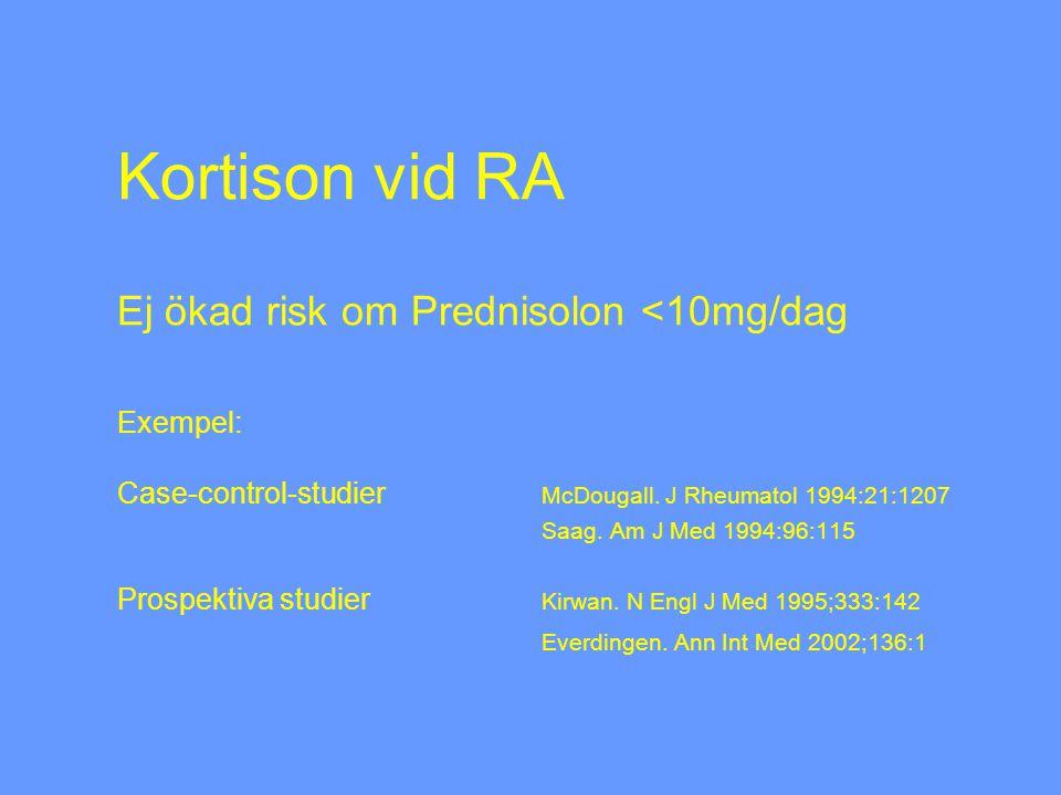 Kortison vid RA Ej ökad risk om Prednisolon <10mg/dag Exempel: Case-control-studier McDougall.