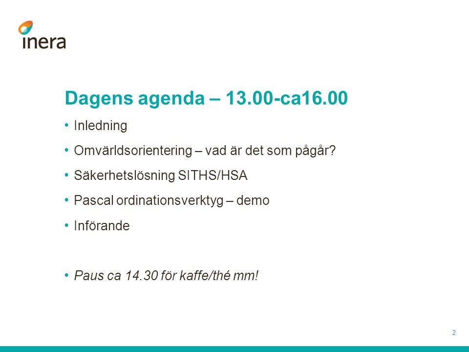 Dagens agenda – 13.00-ca16.00 Inledning