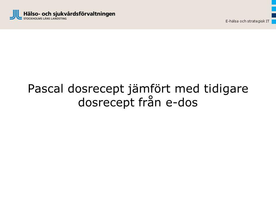 Pascal dosrecept jämfört med tidigare dosrecept från e-dos