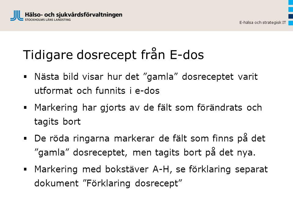 Tidigare dosrecept från E-dos