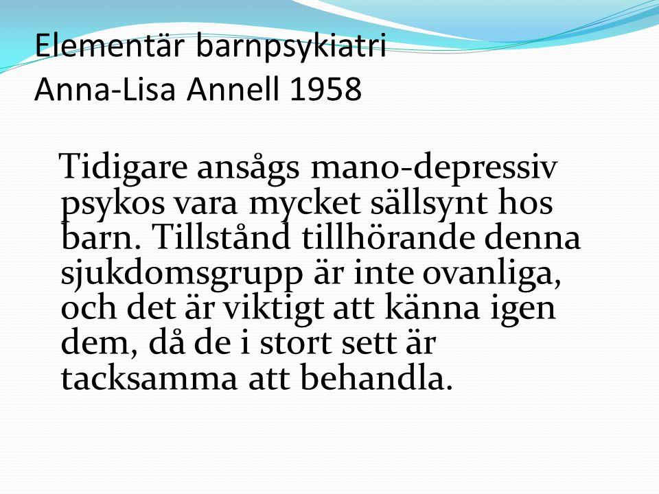 Elementär barnpsykiatri Anna-Lisa Annell 1958
