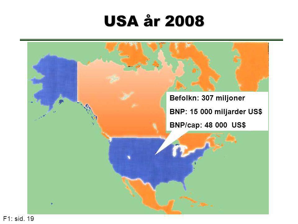 USA år 2008 Befolkn: 307 miljoner BNP: 15 000 miljarder US$