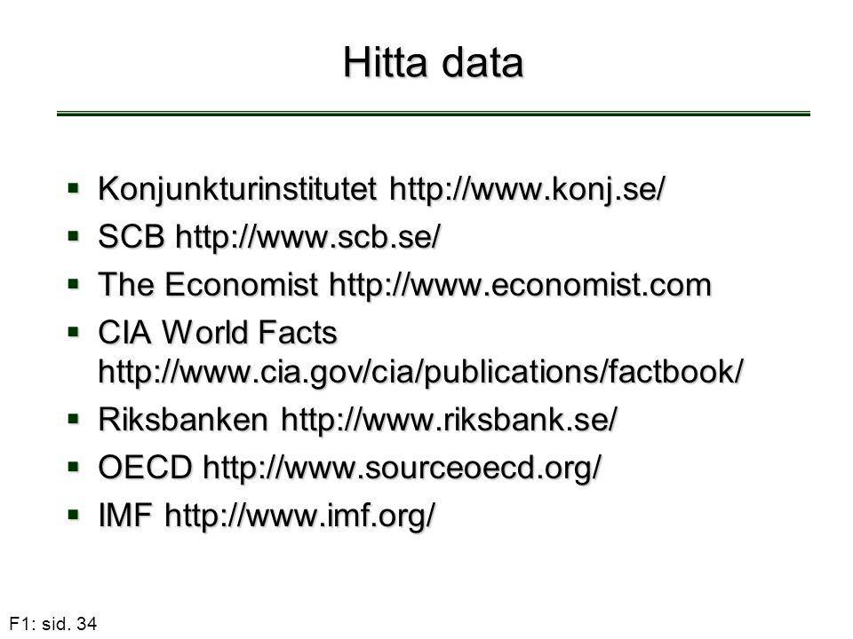 Hitta data Konjunkturinstitutet http://www.konj.se/