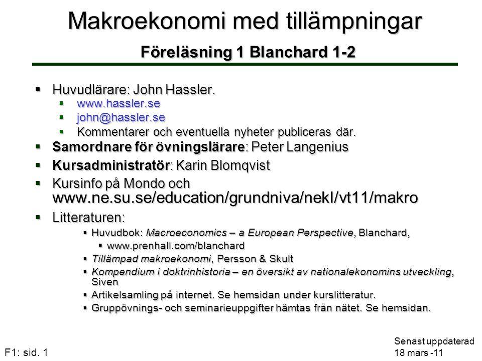 Makroekonomi med tillämpningar Föreläsning 1 Blanchard 1-2