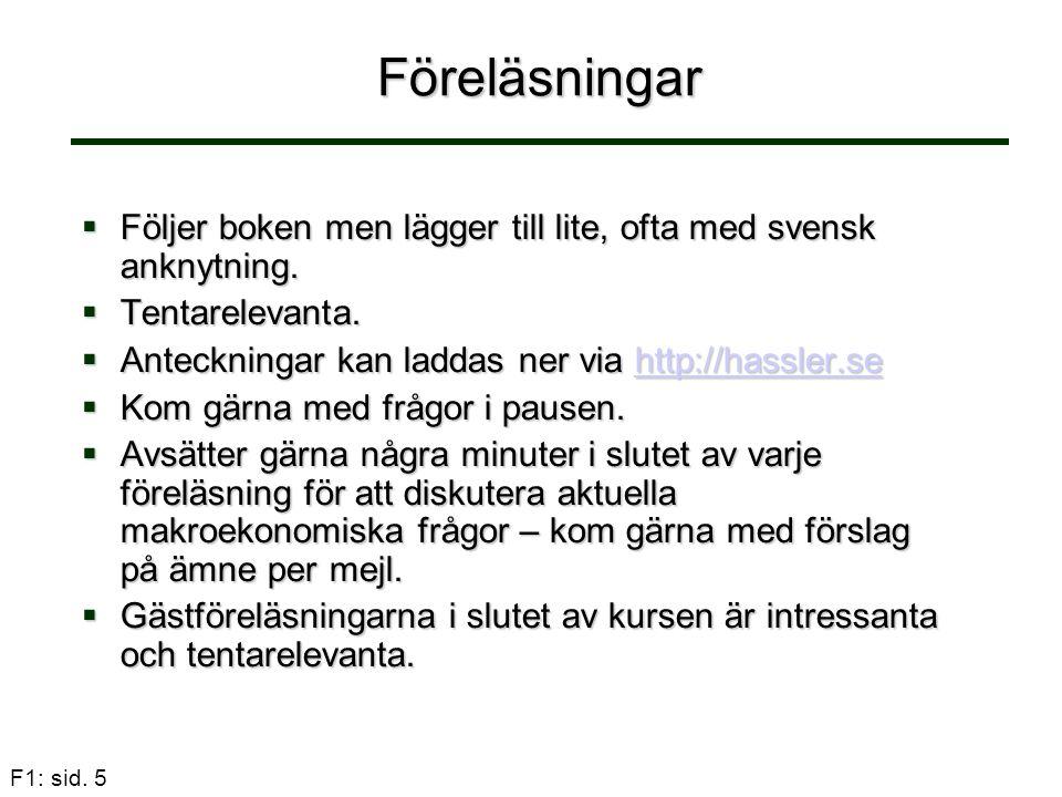 Föreläsningar Följer boken men lägger till lite, ofta med svensk anknytning. Tentarelevanta. Anteckningar kan laddas ner via http://hassler.se.