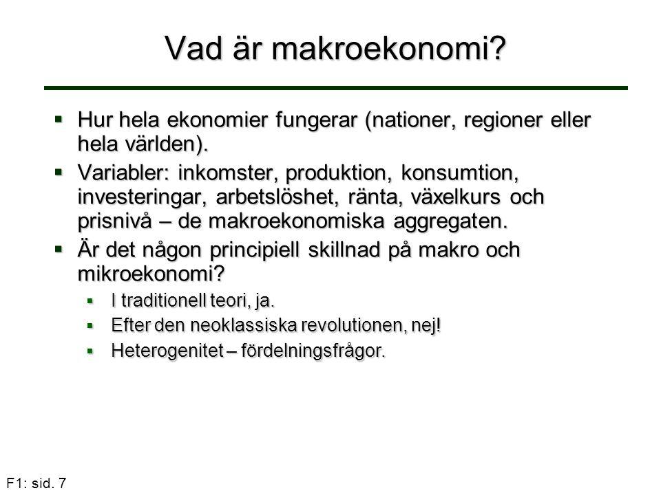 Vad är makroekonomi Hur hela ekonomier fungerar (nationer, regioner eller hela världen).