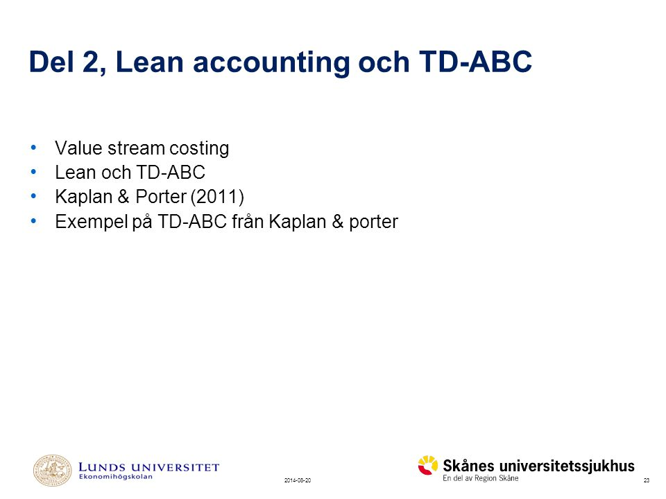 Del 2, Lean accounting och TD-ABC