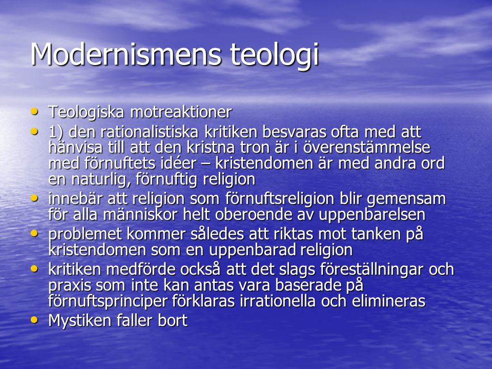 Modernismens teologi Teologiska motreaktioner