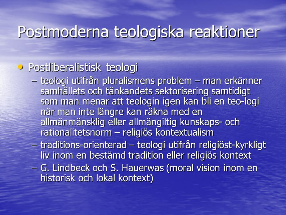 Postmoderna teologiska reaktioner
