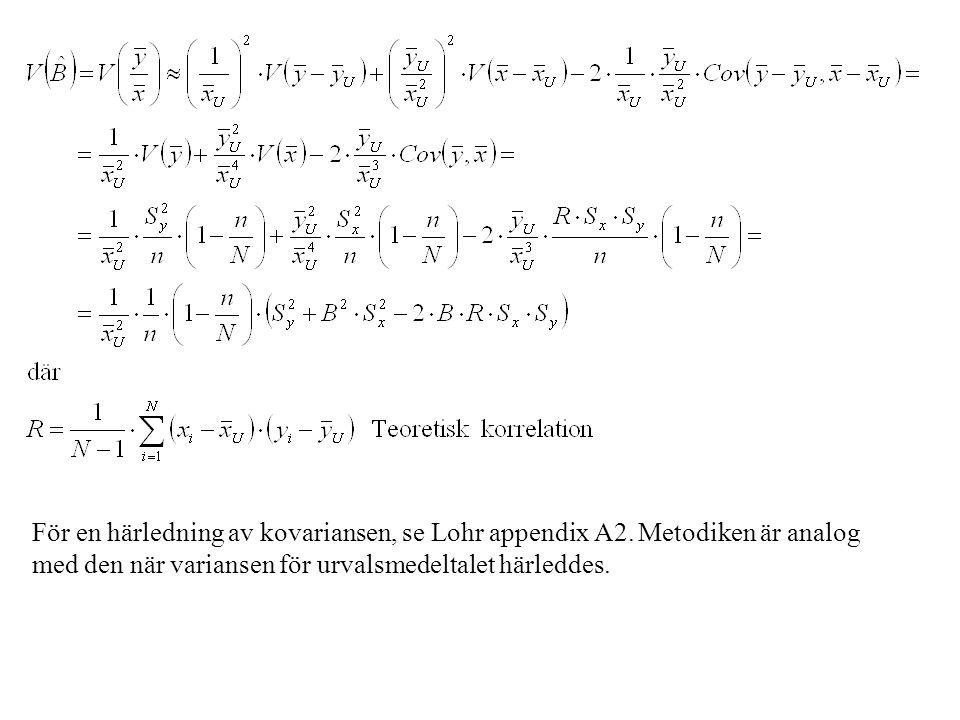 För en härledning av kovariansen, se Lohr appendix A2