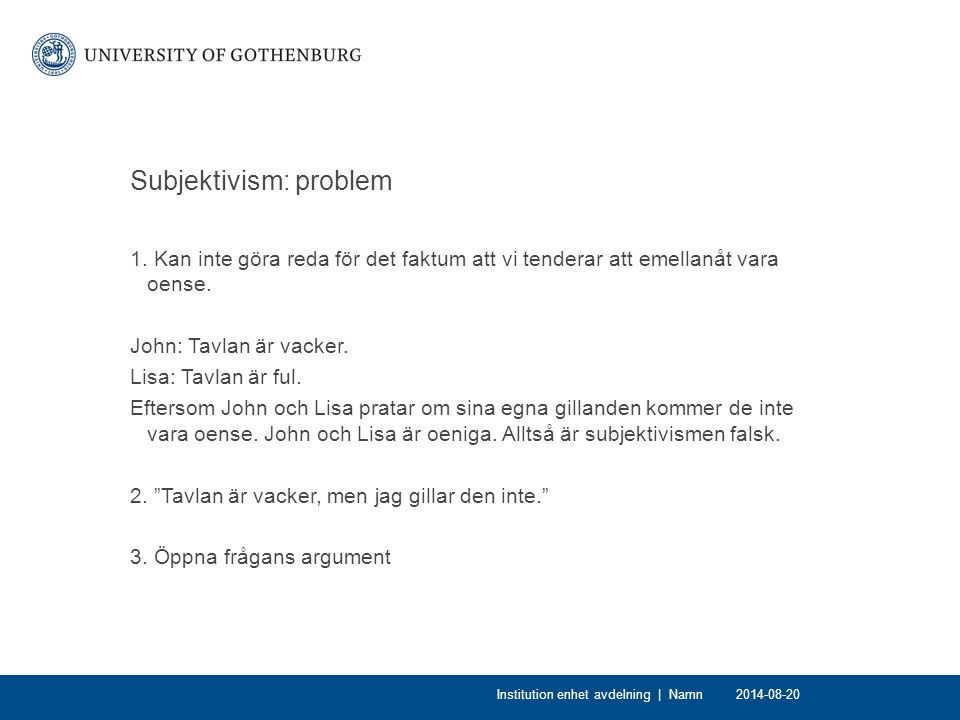 Subjektivism: problem