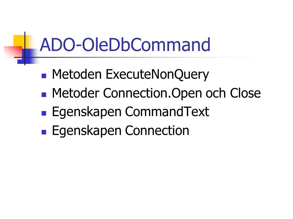 ADO-OleDbCommand Metoden ExecuteNonQuery
