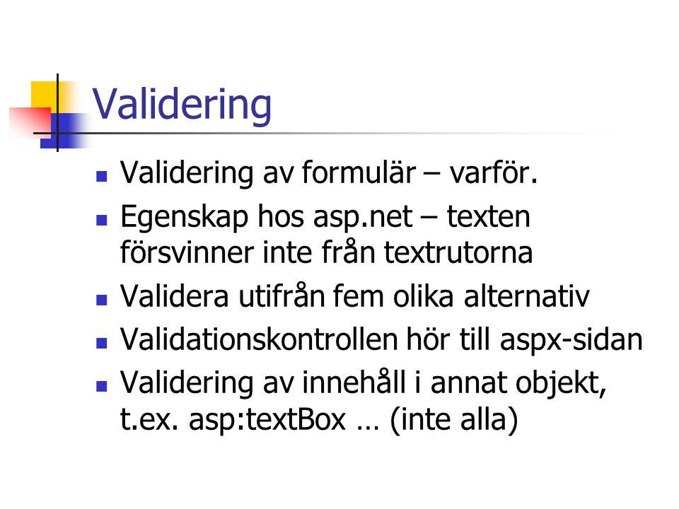 Validering Validering av formulär – varför.