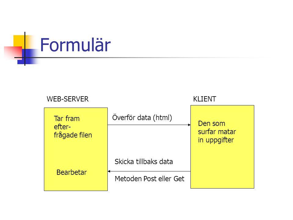 Formulär WEB-SERVER KLIENT Tar fram efter- frågade filen