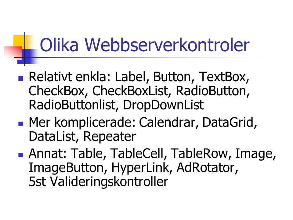 Olika Webbserverkontroler