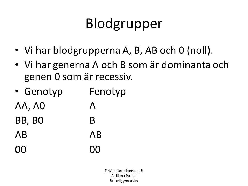 Blodgrupper Vi har blodgrupperna A, B, AB och 0 (noll).