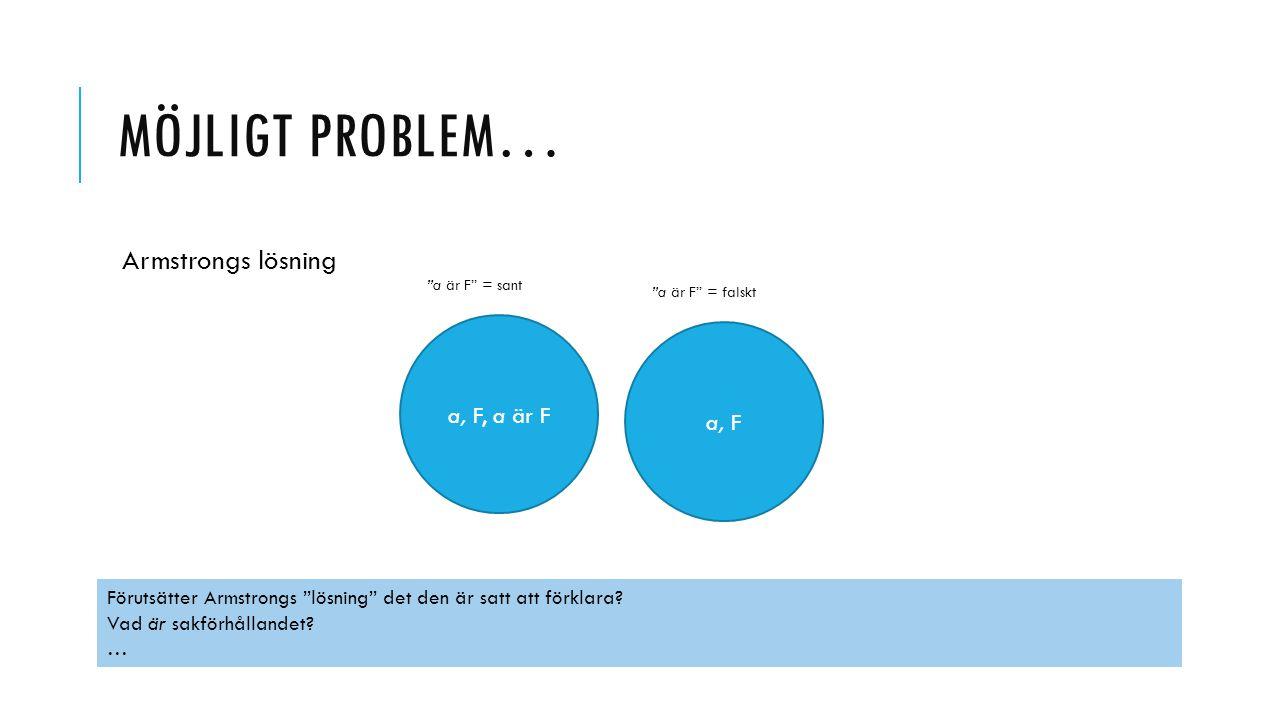 Möjligt problem… Armstrongs lösning a, F, a är F a, F