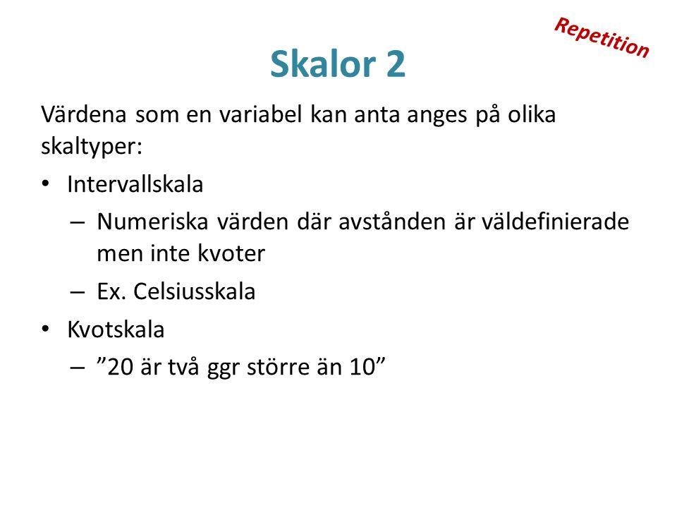 Skalor 2 Värdena som en variabel kan anta anges på olika skaltyper: