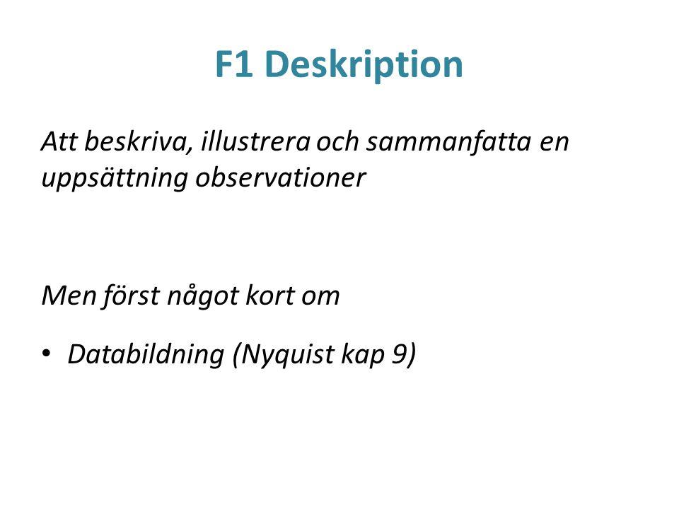 F1 Deskription Att beskriva, illustrera och sammanfatta en uppsättning observationer. Men först något kort om.
