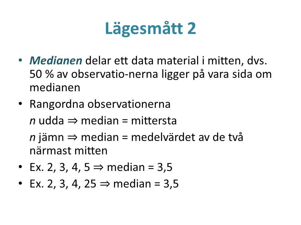 Lägesmått 2 Medianen delar ett data material i mitten, dvs. 50 % av observatio-nerna ligger på vara sida om medianen.