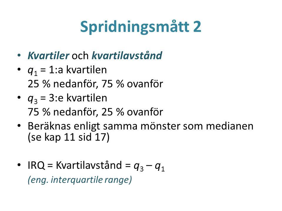 Spridningsmått 2 Kvartiler och kvartilavstånd q1 = 1:a kvartilen