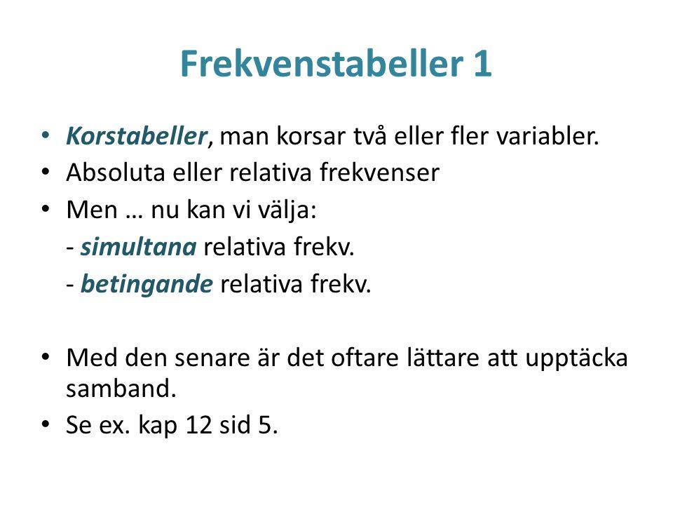 Frekvenstabeller 1 Korstabeller, man korsar två eller fler variabler.