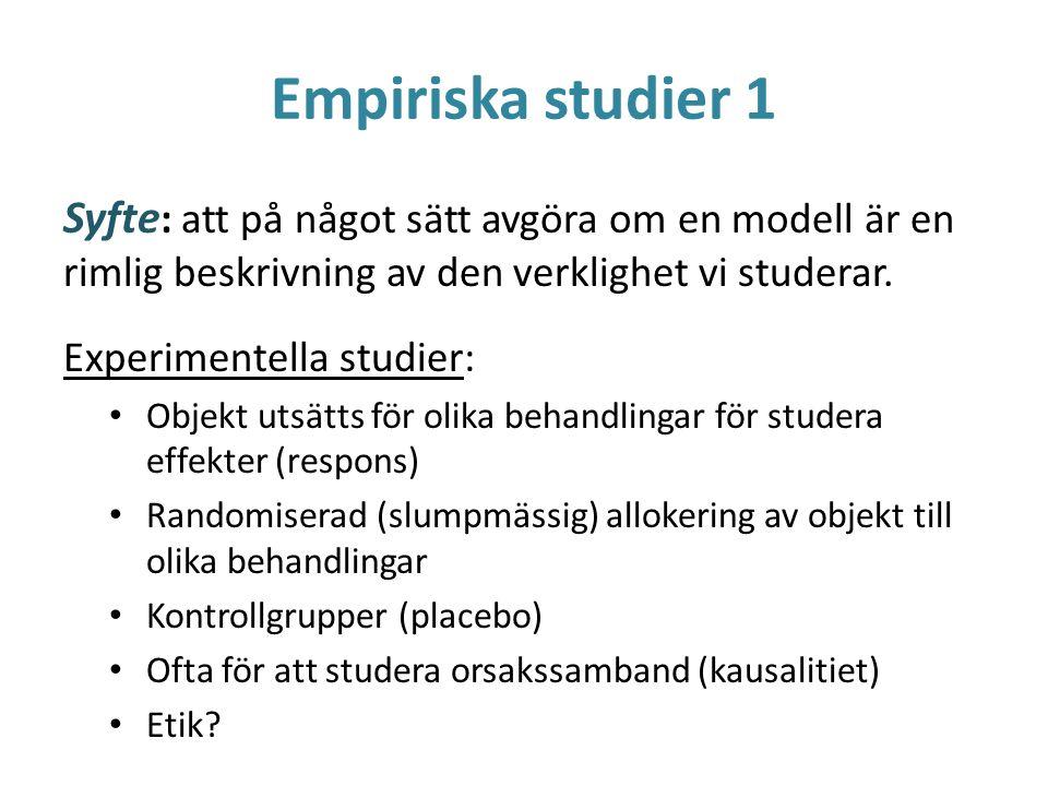 Empiriska studier 1 Syfte: att på något sätt avgöra om en modell är en rimlig beskrivning av den verklighet vi studerar.