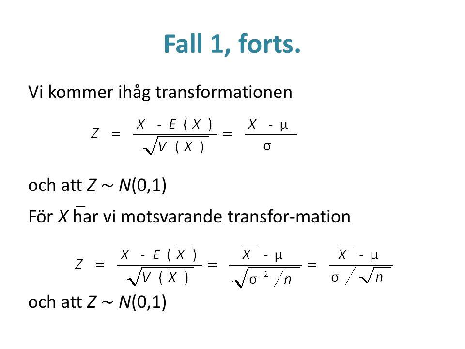 Fall 1, forts. Vi kommer ihåg transformationen och att Z ~ N(0,1)