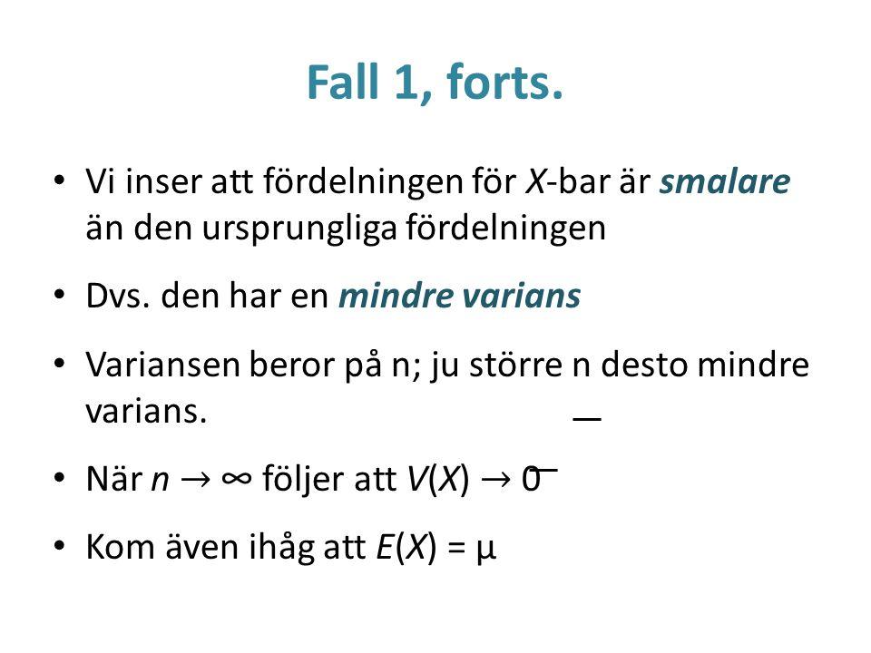 Fall 1, forts. Vi inser att fördelningen för X-bar är smalare än den ursprungliga fördelningen. Dvs. den har en mindre varians.