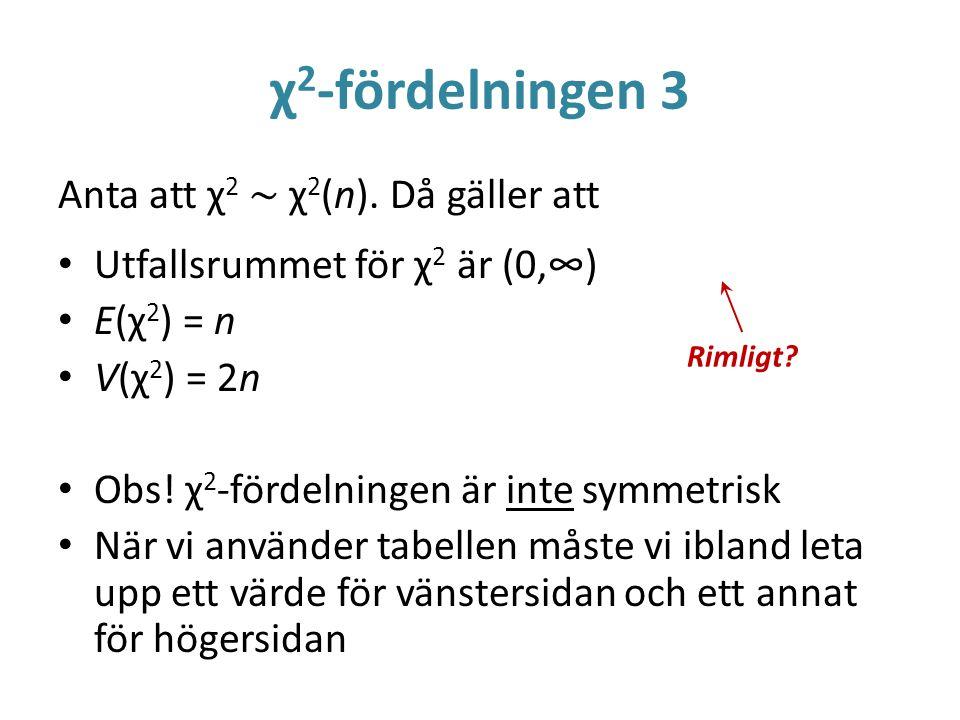 χ2-fördelningen 3 Anta att χ2 ~ χ2(n). Då gäller att