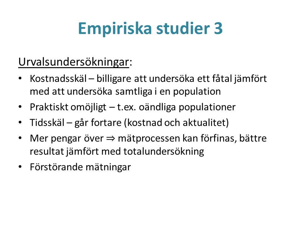 Empiriska studier 3 Urvalsundersökningar: