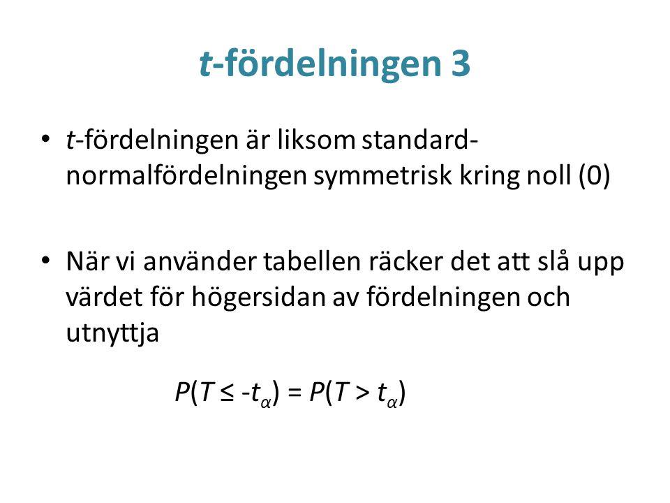 t-fördelningen 3 t-fördelningen är liksom standard-normalfördelningen symmetrisk kring noll (0)