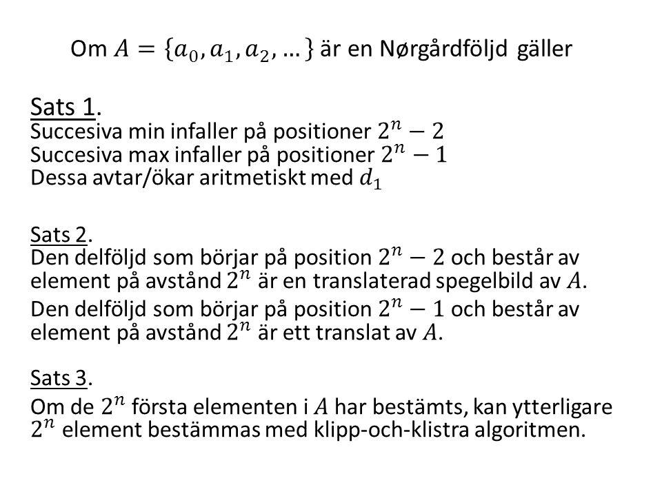 Om 𝐴= 𝑎 0 , 𝑎 1 , 𝑎 2 , … är en Nørgårdföljd gäller